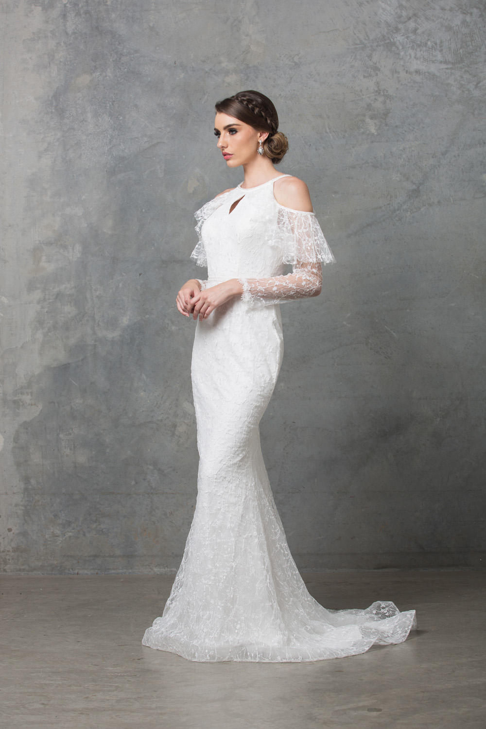 Ophelia long sleeve wedding dress side