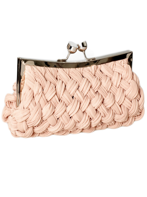 pale pink woven clutch