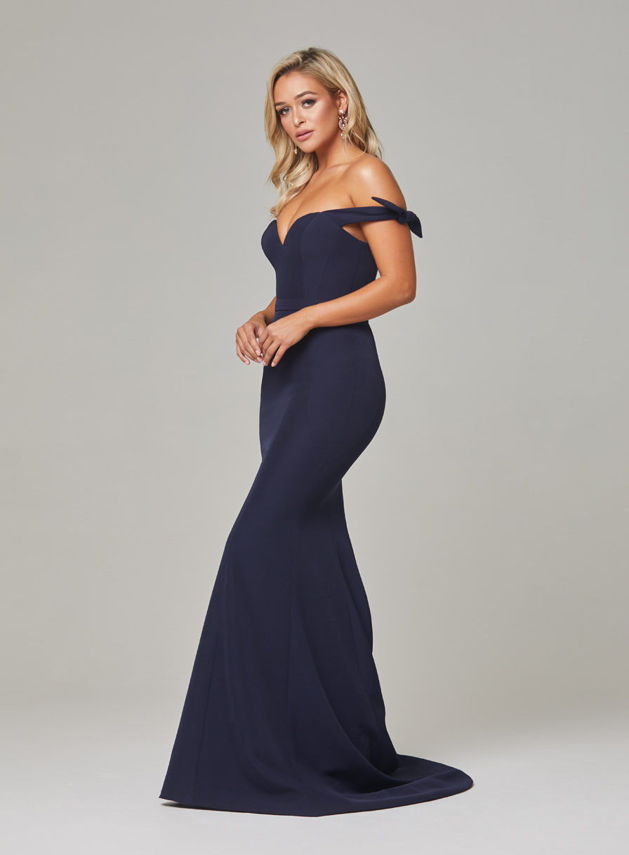 Remi Evening Dress-Navy-side