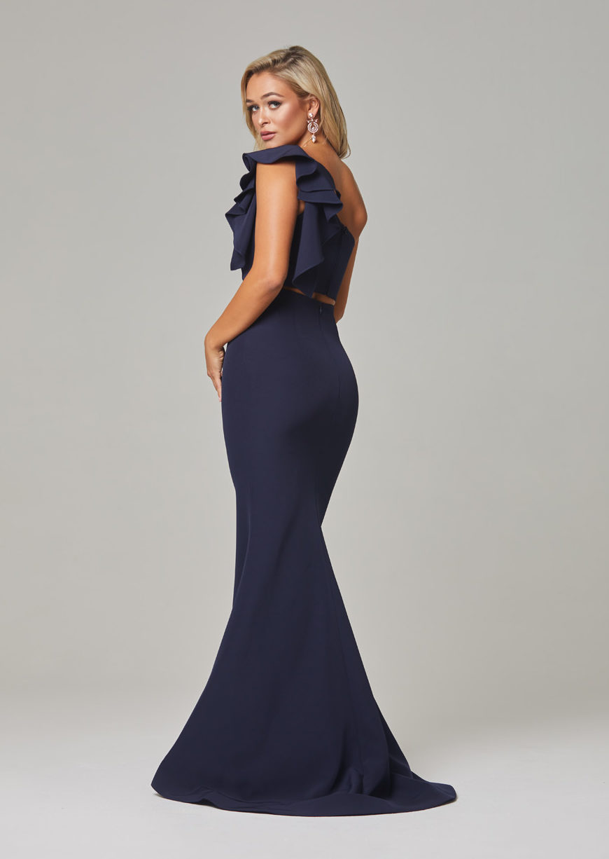 Skyler Evening Dress-navy-back
