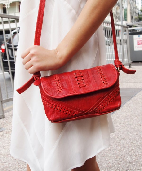 Small red leather shoulder bag - Sentani Boutique Bridal, Formal And Evening Dresses Fashion Store