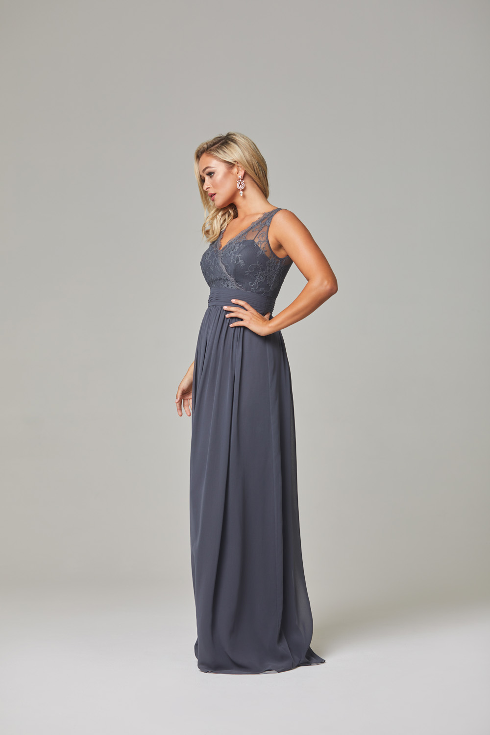 Taliyah Bridesmaid Dress-Charcoal-side