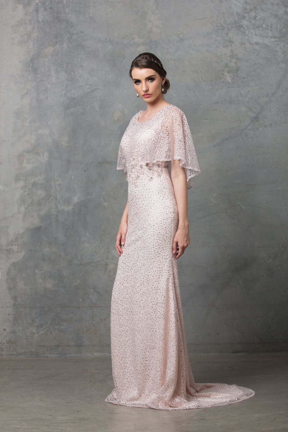 Carolyn Beaded Lace Wedding Dress blush side