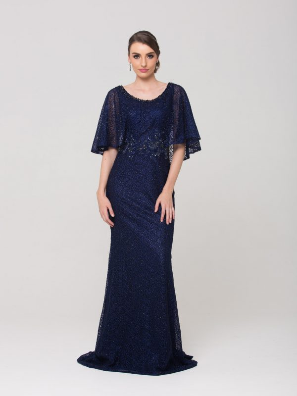 Carolyn embroidered lace evening dress navy