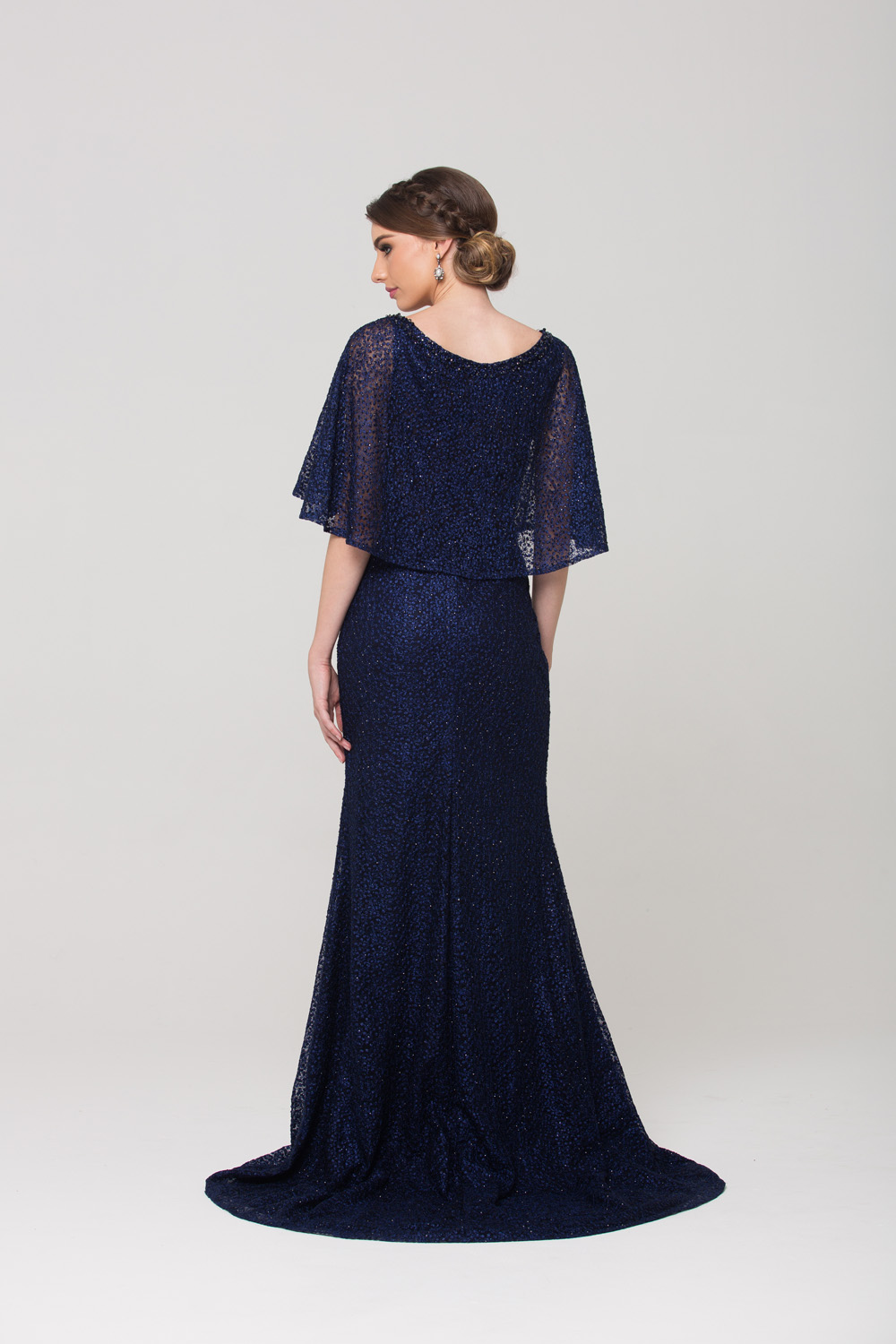 Carolyn embroidered lace evening dress navy back