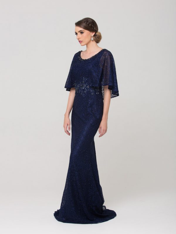 Carolyn embroidered lace evening dress navy side