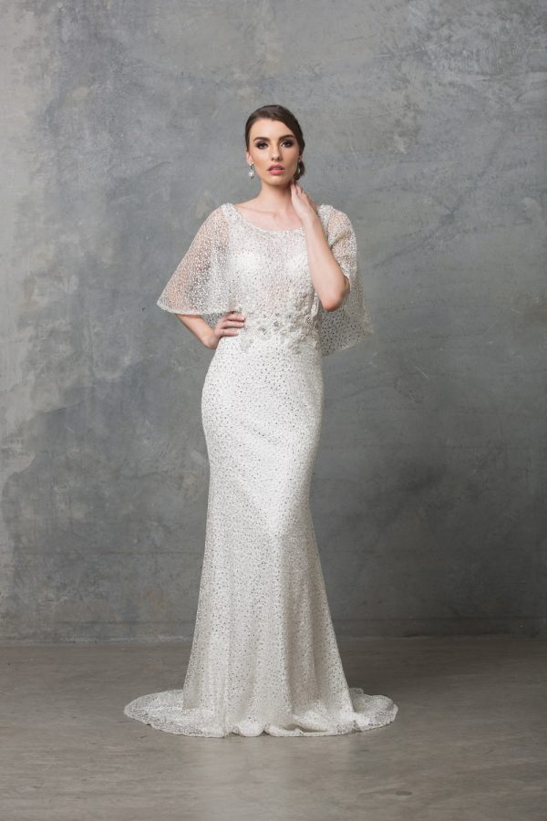 Carolyn Beaded Lace Wedding Dress vintage white front