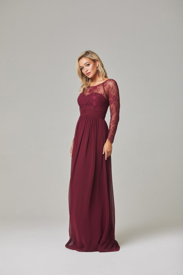 Vallaris Bridesmaid Dress-Merlot-side