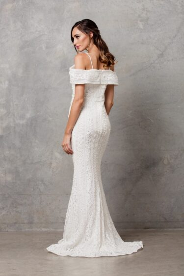 Vanita Beaded off Shoulder Wedding Dress back