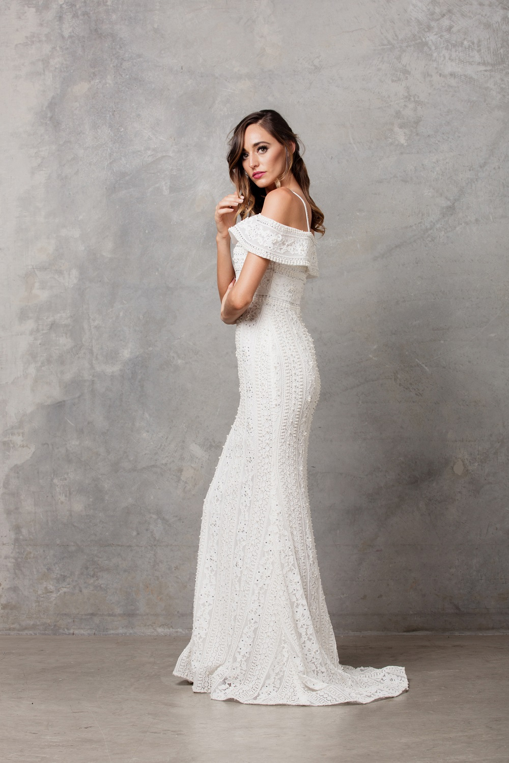 Vanita Beaded off Shoulder Wedding Dress side