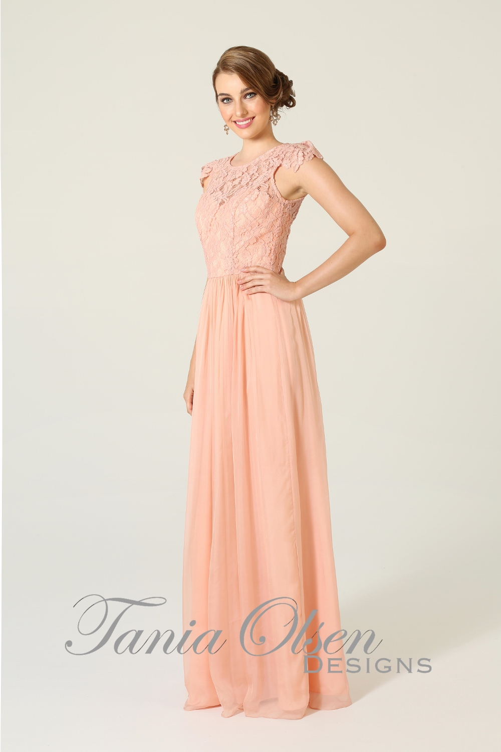 Latitia Bridesmaid Dress Peach
