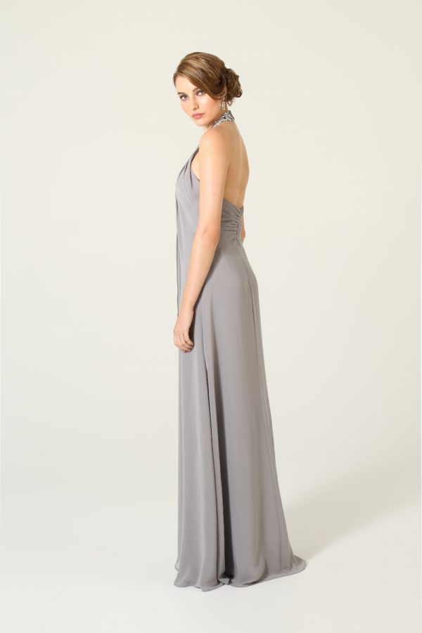 Beaded Grey Halter Bridesmaids Dress