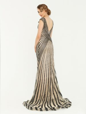 Black Stripe Formal Dress