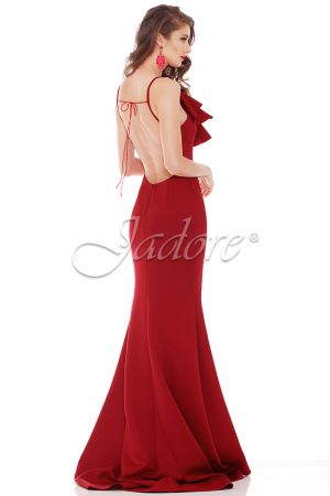 Red Low Back Formal Dress.