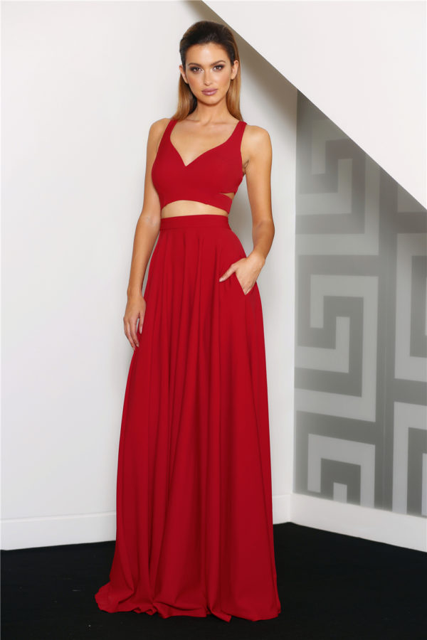 Renee Red Two Piece Formal Dress