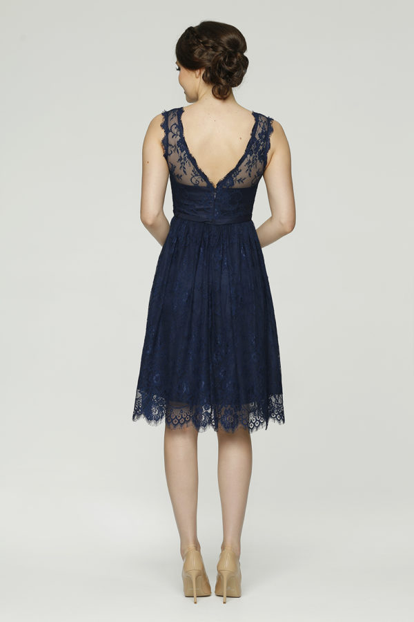 Audrey Bridesmaid dress back navy