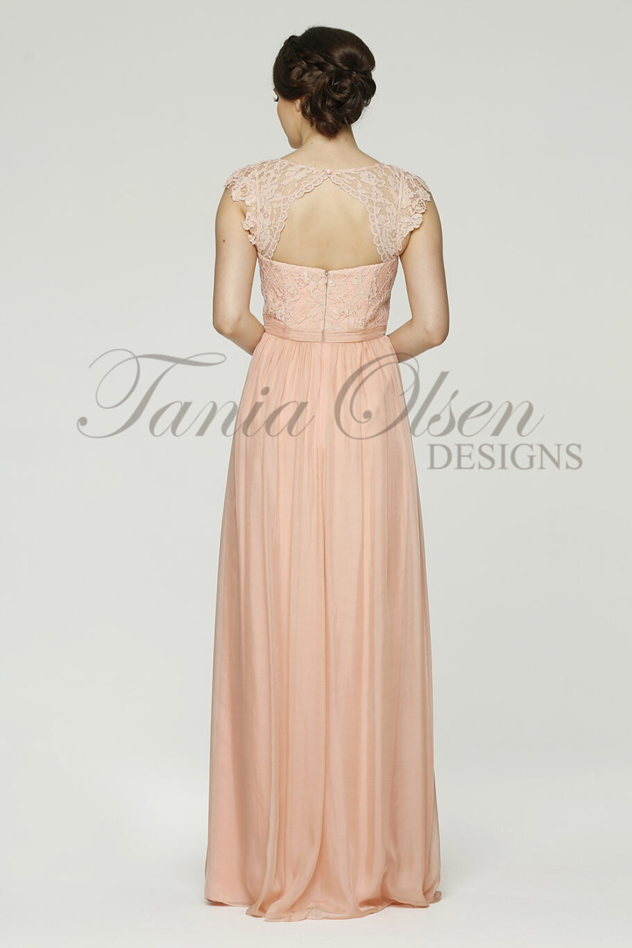 Willow Peach Bridesmaid dress back peach