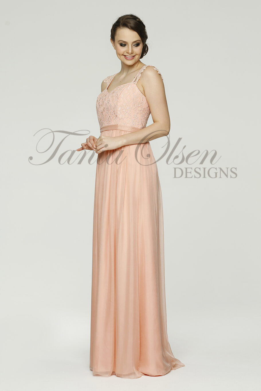 Willow Peach Bridesmaid dress side peach