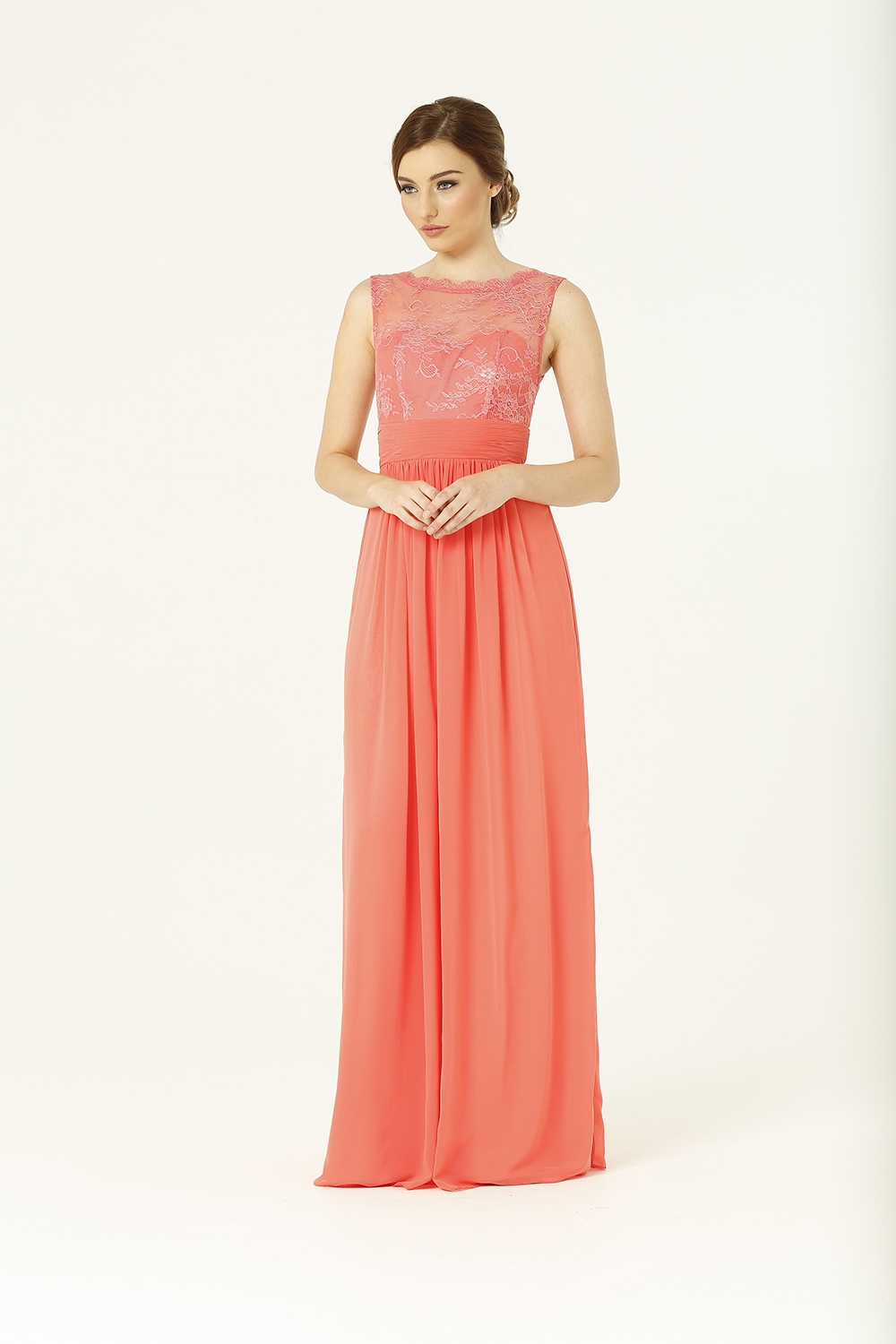 PO34 Charlotte Bridesmaids Dress - end of dye lot coral