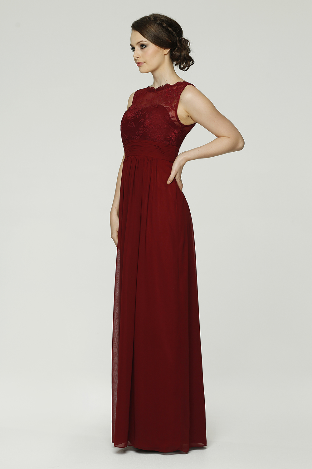PO34 Charlotte Bridesmaids Dress - end of dye lot merlot