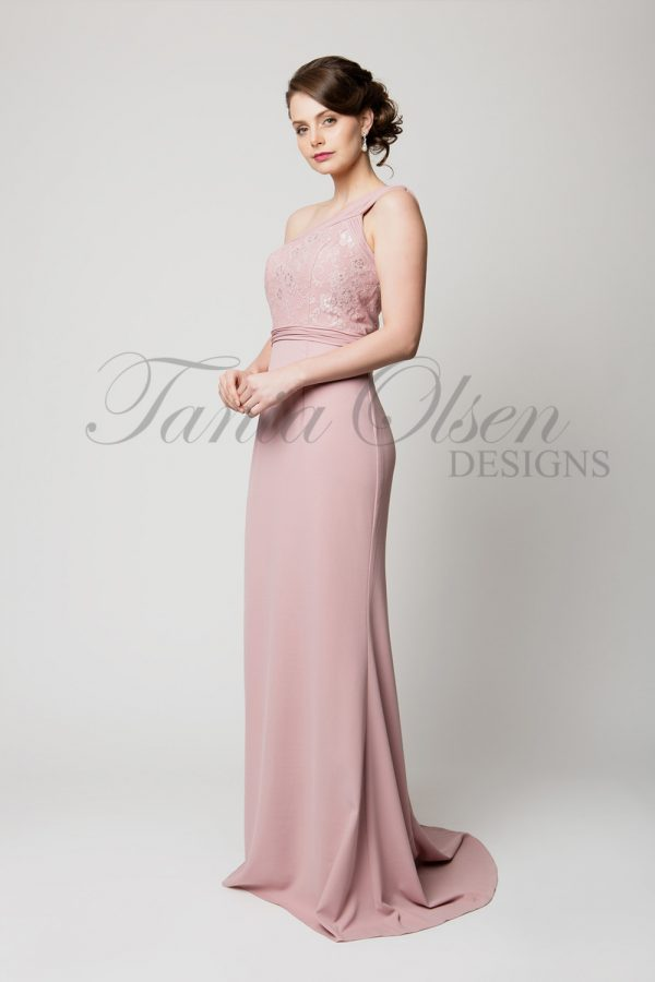 TO62 Leah Blush Bridesmaid Dress side