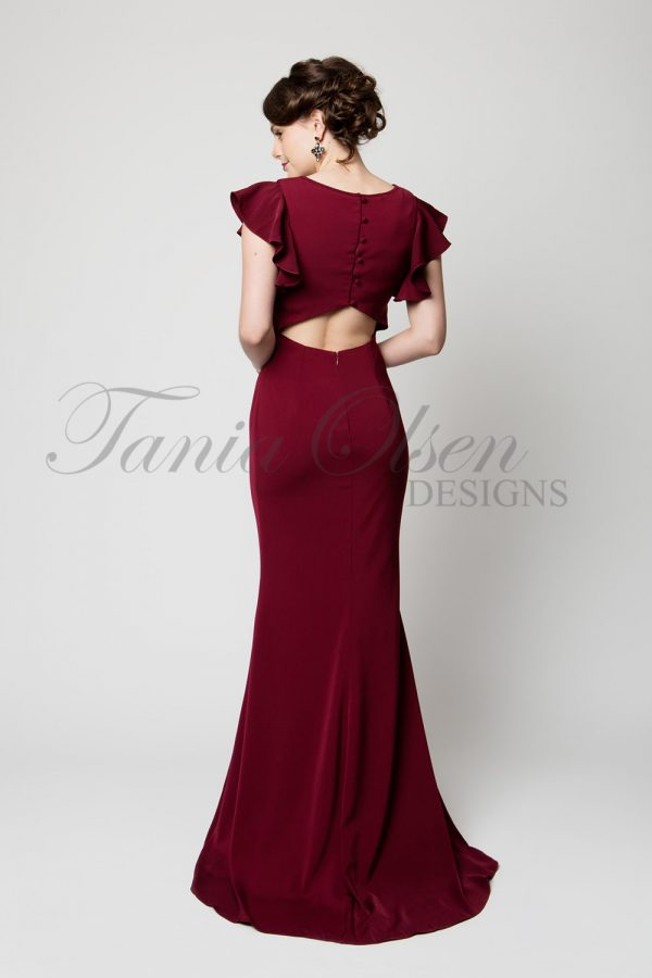 TO64 Stella Evening Dress Back Merlot