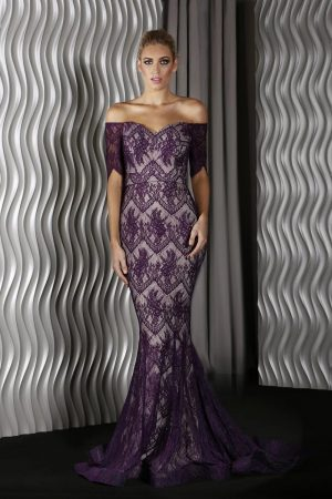 J9058 Elaine Evening Dress Purple