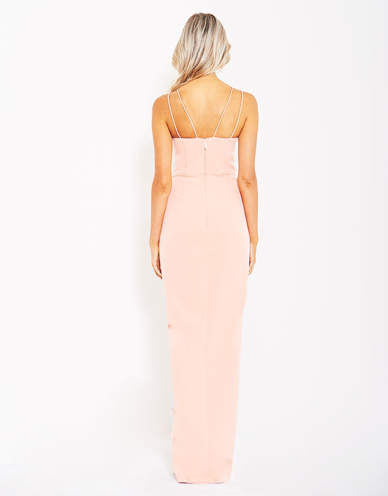 B21D35 Michelle Gown with cross over skirt in cyan back image