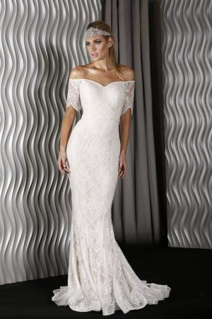 J9058 Elaine Evening Dress Ivory