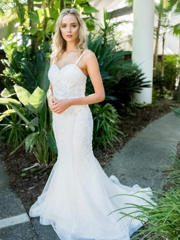 Charlize thin strap wedding dress side location