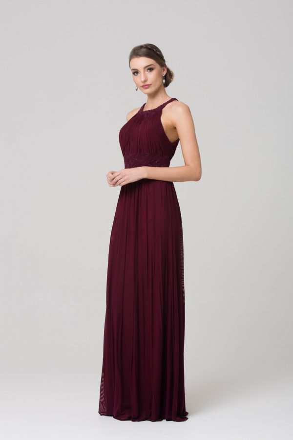 Bonita Stretch Tulle Bridesmaids Dress wine side
