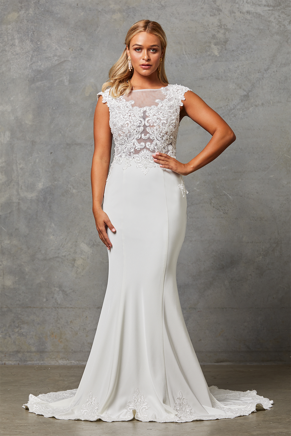 Lora Wedding Dress with Detachable Cape-NoCape-front