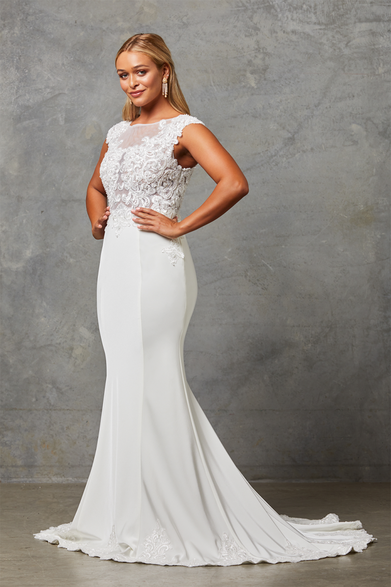 Lora Wedding Dress with Detachable Cape-NoCape-side