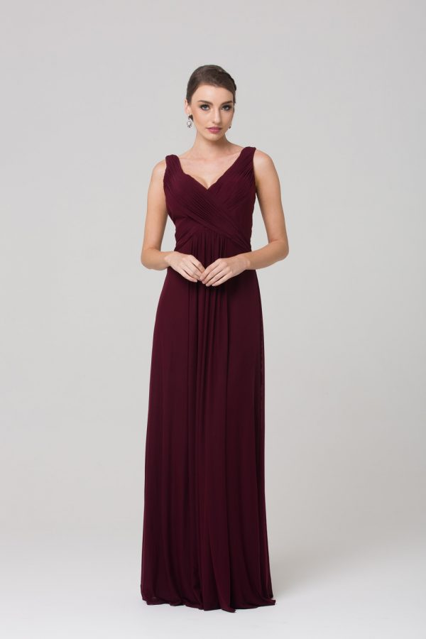 TO74 TO74 Amber Bridesmaids Dress WINE FRONT