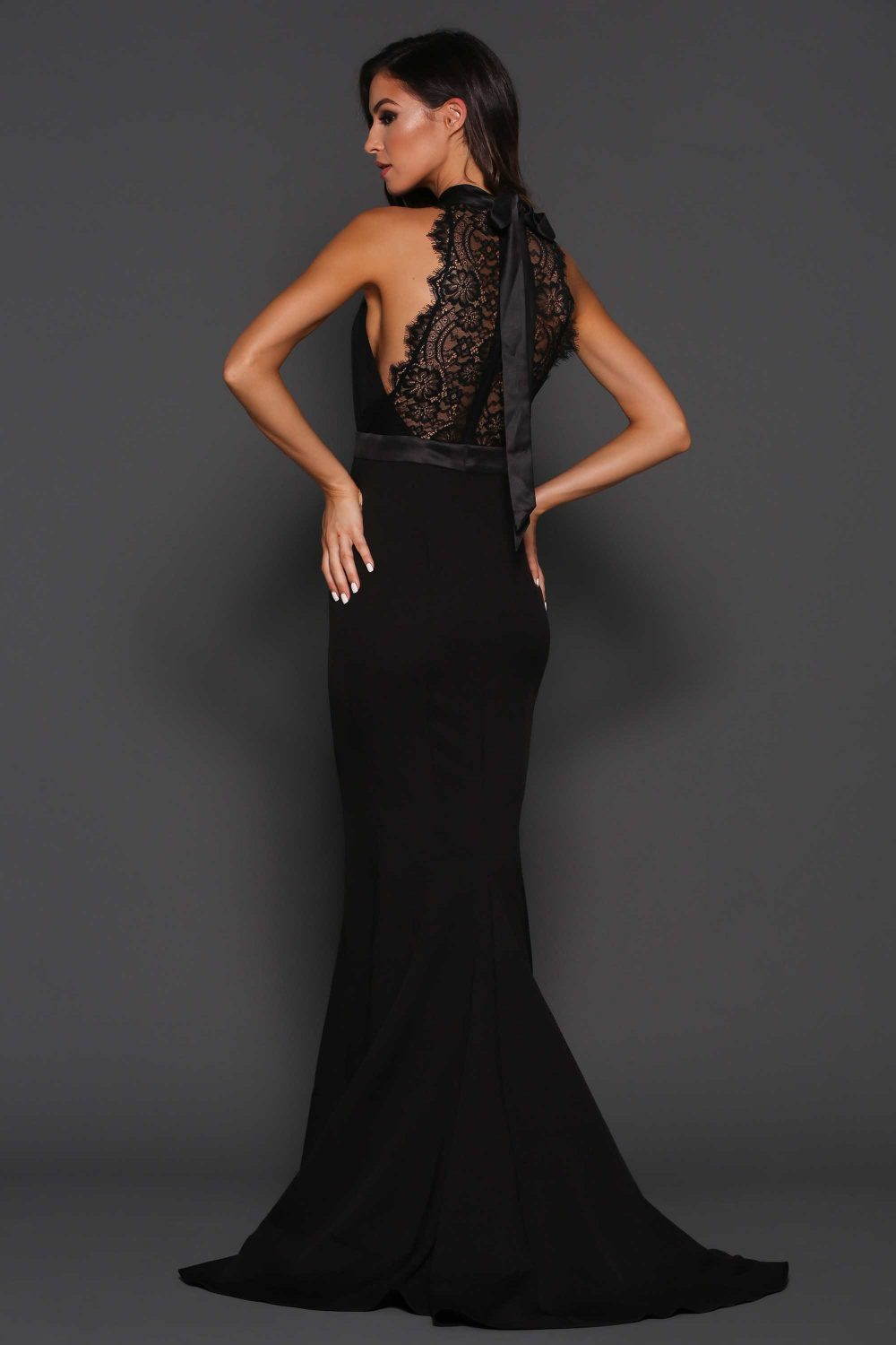 Pauline high halter neck lace evening dress - Sentani Boutique