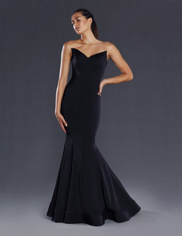 Lorde strapless fitted Black front