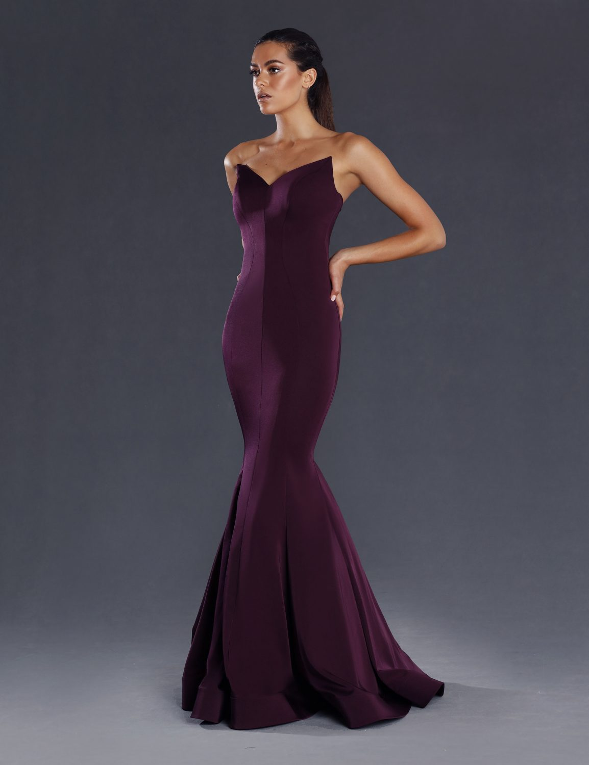 Lorde strapless fitted Plum Side