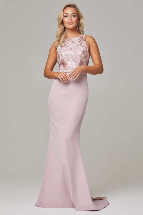 Eden high neck bridesmaid dress Dusty Pink