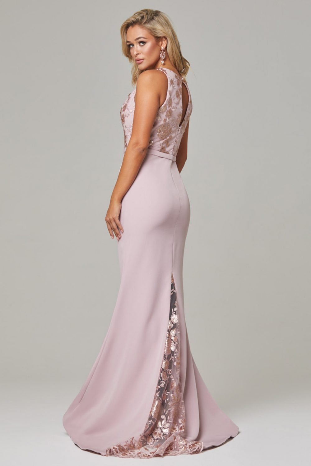 Eden high neck bridesmaid dress Dusty Pink Back