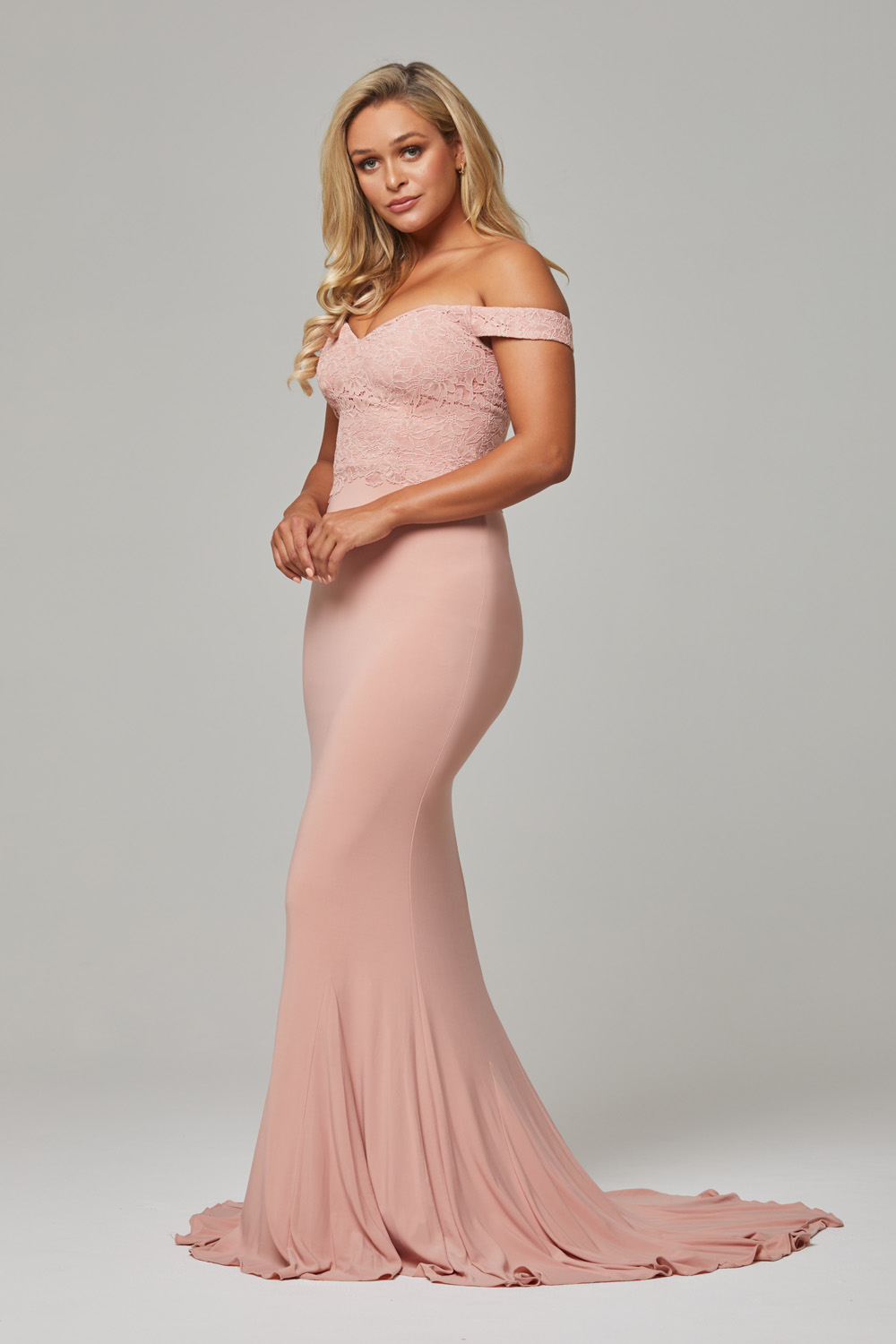 Jacqulyn off the shoulder bridesmaid dress blush