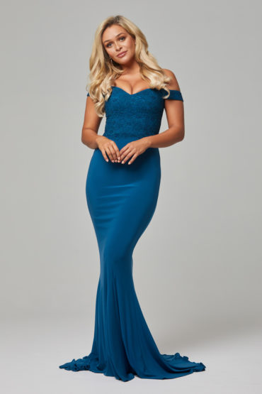 Jacqulyn off the shoulder bridesmaid dress teal