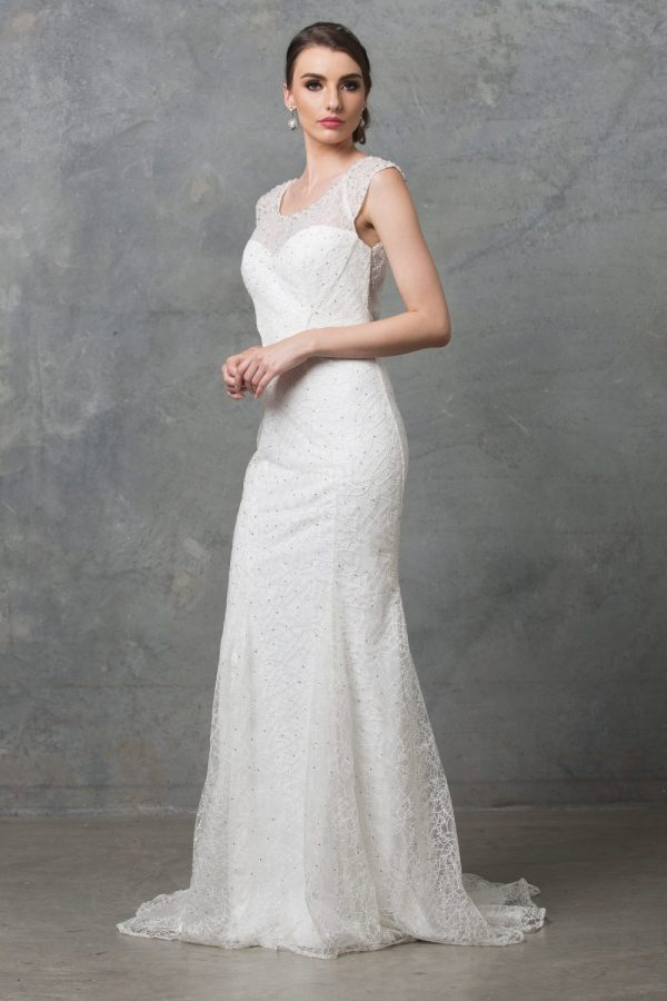 Kalisi embroidered lace back keyhole wedding dress