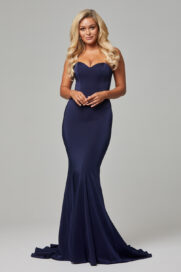 Kiara strapless fitted sweetheart formal dress navy