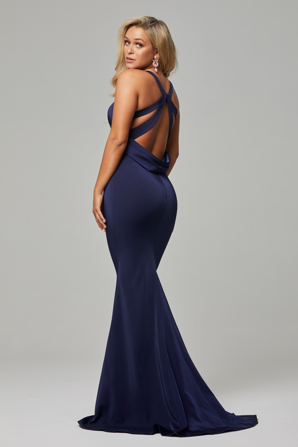 Makena low back fitted formal dress navy back