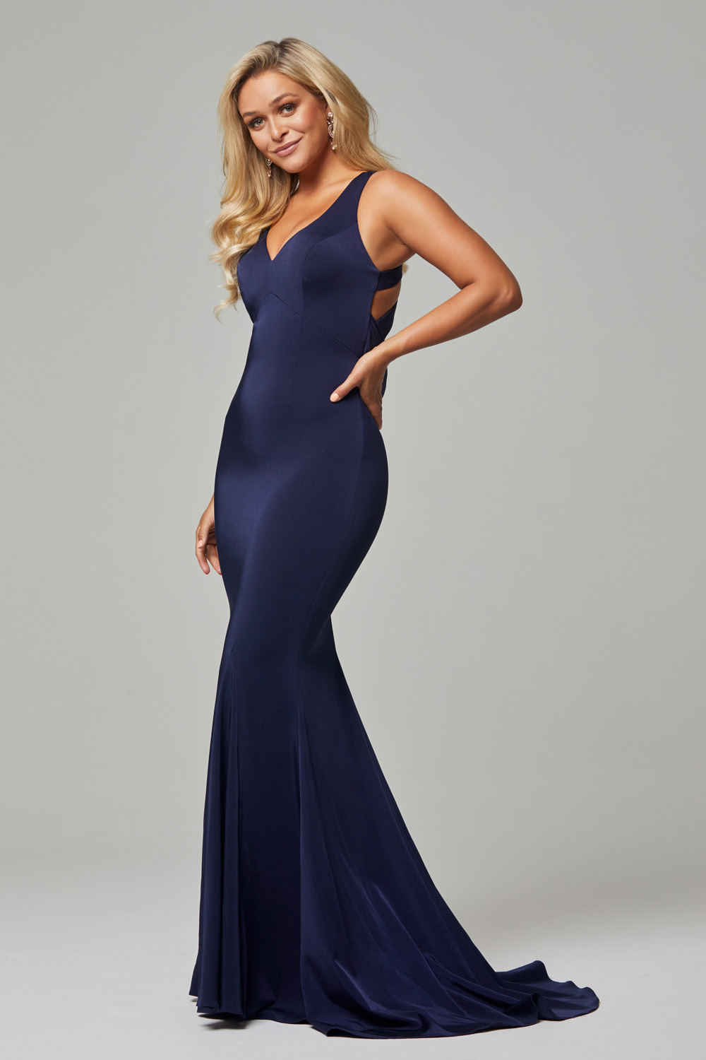 Makena low back fitted formal dress navy