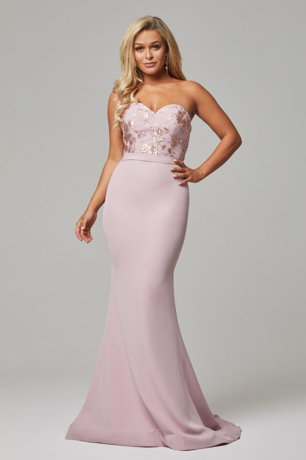 Paloma fitted strapless bridesmaid dress dusty pink