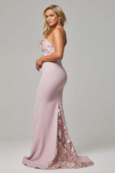 Paloma fitted strapless bridesmaid dress dusty pink back
