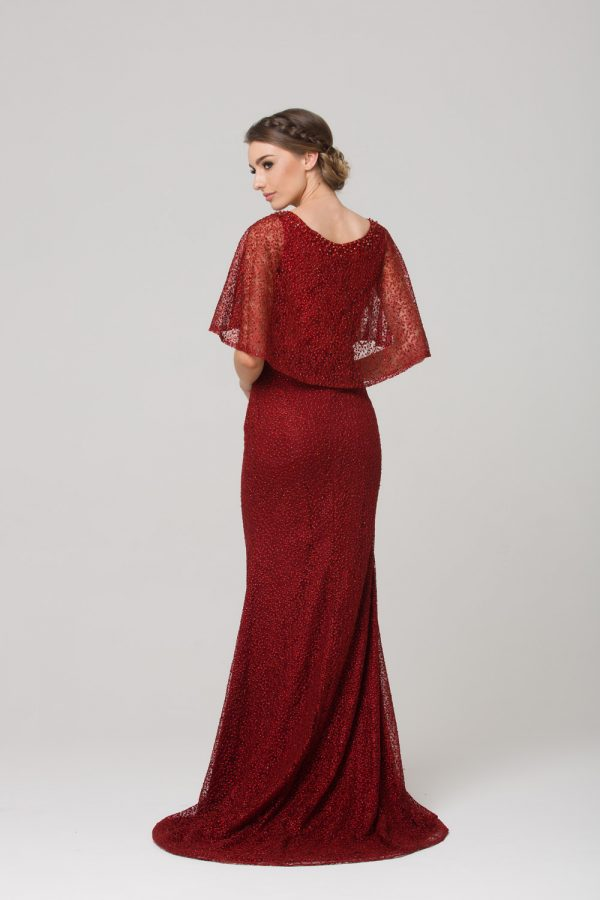 TC008 Carolyn embroidered evening dress CHERRY back
