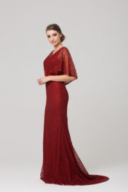 TC008 Carolyn embroidered evening dress CHERRY side
