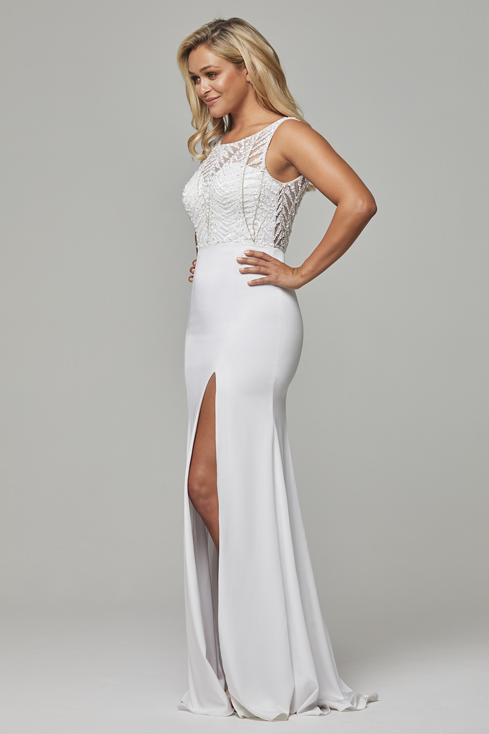 Zaylee beaded low back evening dress PO591 side